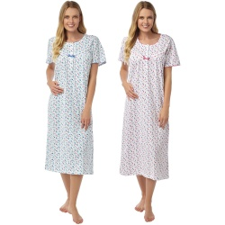 Cotton Short Sleeve Nightdress With Abstract Spot Pattern